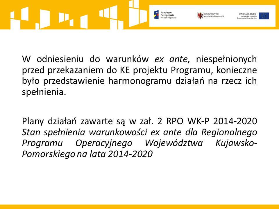 W odniesieniu do warunków ex ante, niespełnionych przed przekazaniem do KE projektu Programu, konieczne było przedstawienie harmonogramu działań na rzecz ich spełnienia.