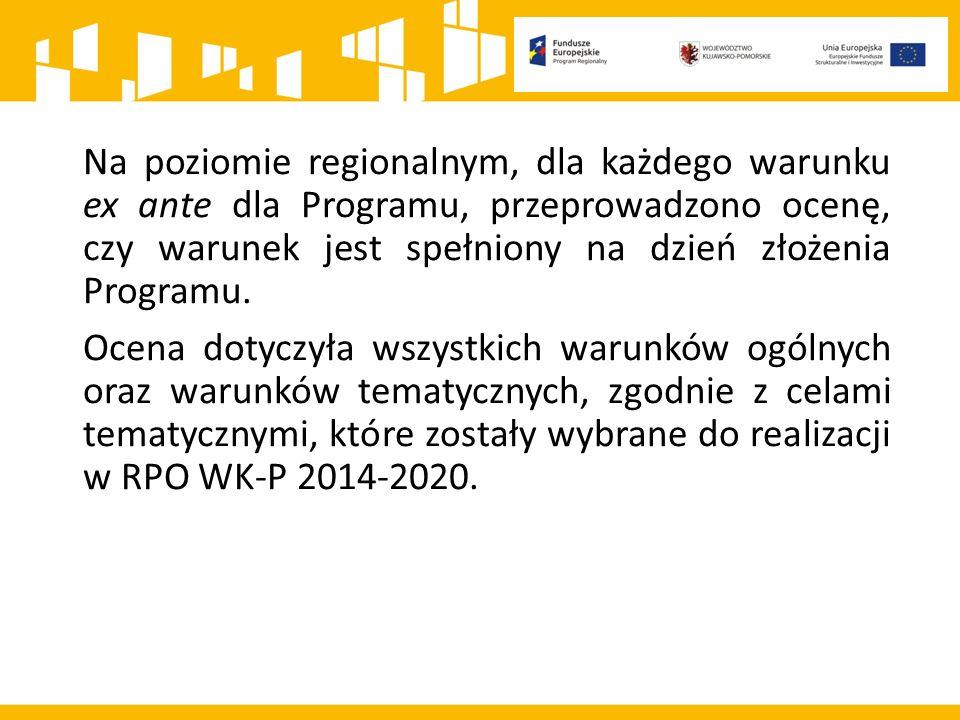 Warunki ogólne (poza warunkiem ogólnym 7) oraz warunki tematyczne (poza warunkami: 1.1 (dotyczący inteligentnych specjalizacji), 6.2 (dotyczący gospodarki odpadami) oraz 7.1 Transport – w zakresie secondary connectivity) są spełniane na poziomie krajowym.