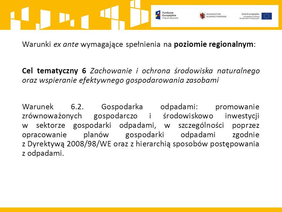 Warunki ex ante wymagające spełnienia na poziomie regionalnym: Cel tematyczny 6 Zachowanie i ochrona środowiska naturalnego oraz wspieranie efektywnego gospodarowania zasobami Warunek 6.2.