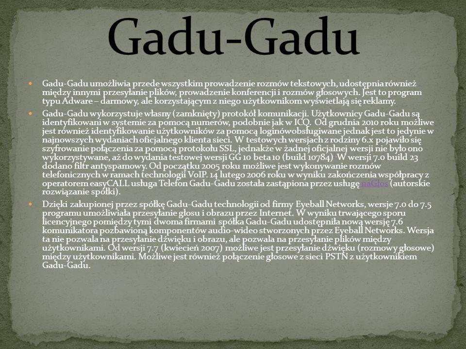 Gadu-Gadu umożliwia przede wszystkim prowadzenie rozmów tekstowych, udostępnia również między innymi przesyłanie plików, prowadzenie konferencji i rozmów głosowych.
