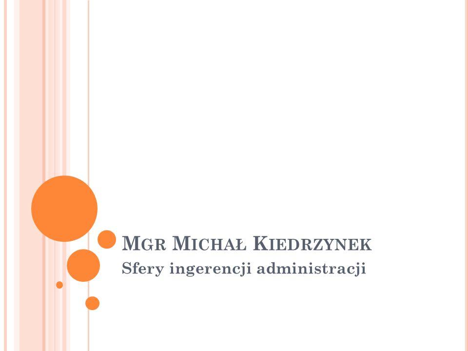 M GR M ICHAŁ K IEDRZYNEK Sfery ingerencji administracji