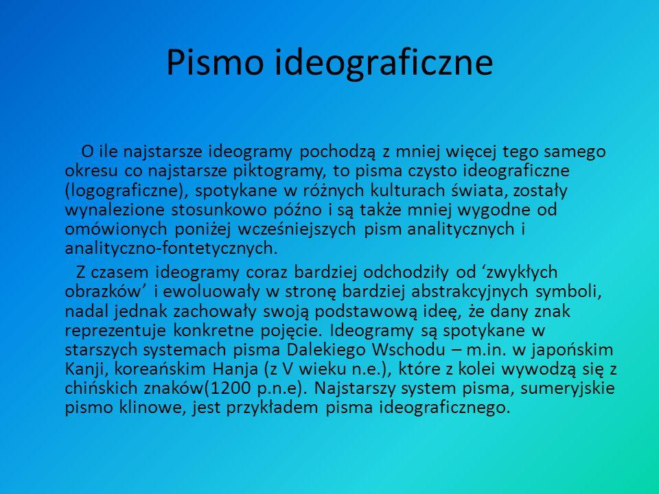 Pismo ideograficzne O ile najstarsze ideogramy pochodzą z mniej więcej tego samego okresu co najstarsze piktogramy, to pisma czysto ideograficzne (log