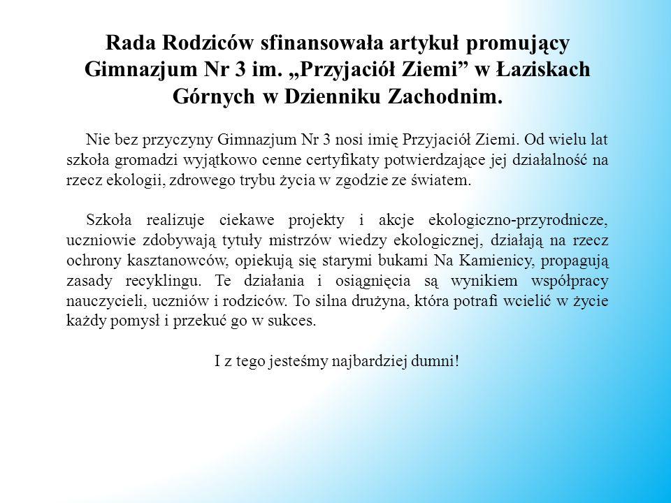Rada Rodziców sfinansowała artykuł promujący Gimnazjum Nr 3 im.