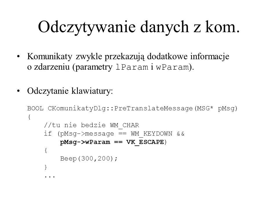 Odczytywanie danych z kom.
