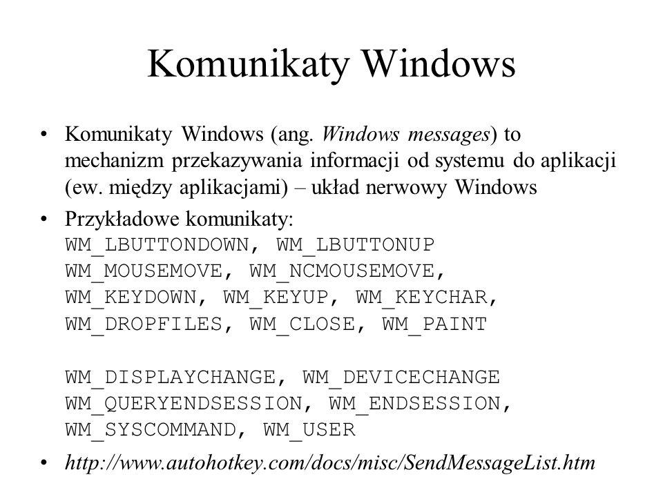 Pętla główna Każda aplikacja Windows musi mieć funkcję zwrotną (ang.