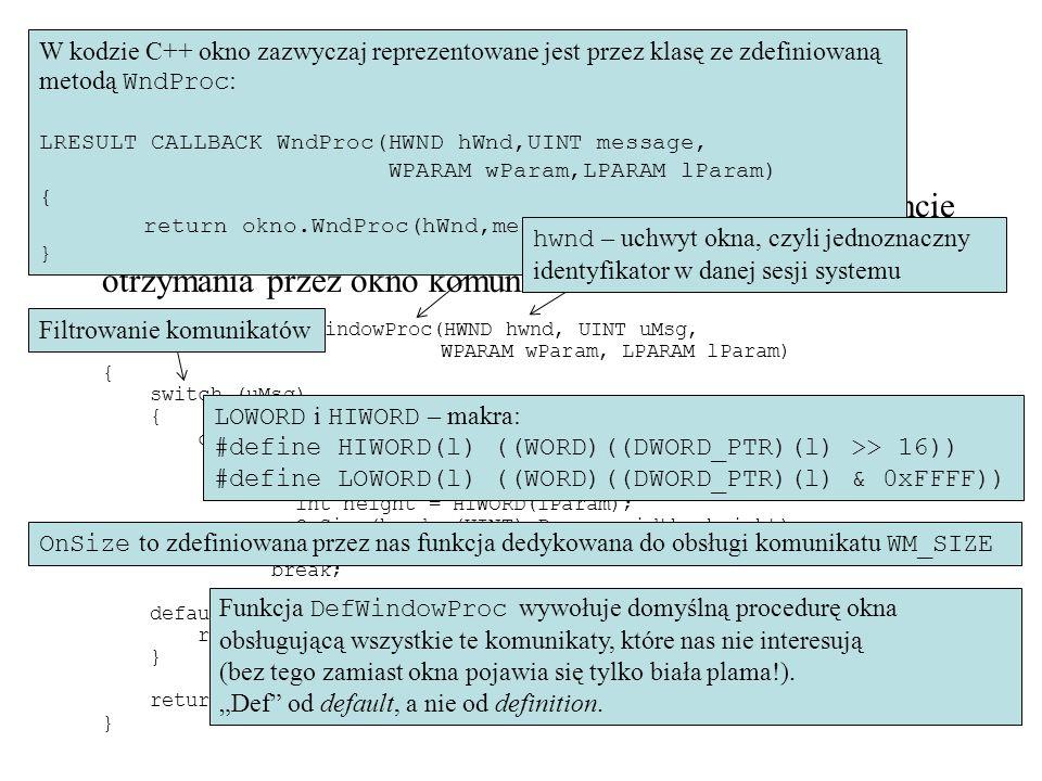 Funkcja PreTranslateMessage (MFC) Funkcja WindowProc uruchamiana jest dla ostatecznego okna- adresata (po rozdzieleniu w pętli obsługi komunikatów).