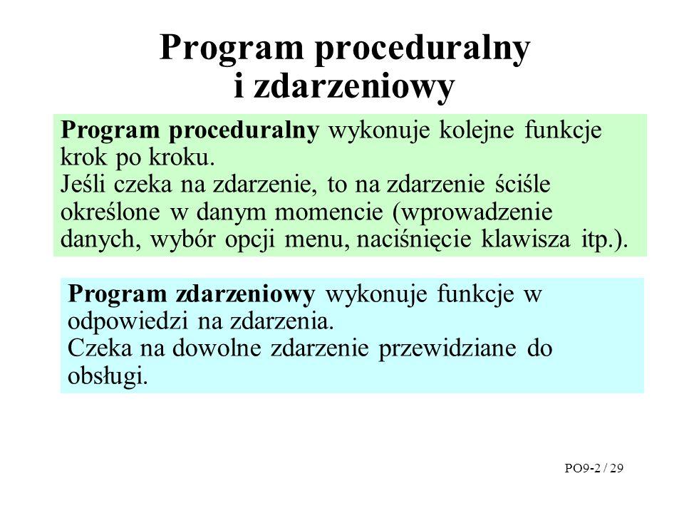 Program proceduralny i zdarzeniowy Program proceduralny wykonuje kolejne funkcje krok po kroku.