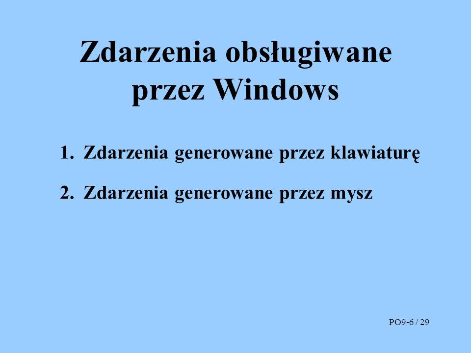Zdarzenia obsługiwane przez Windows 1.Zdarzenia generowane przez klawiaturę 2.Zdarzenia generowane przez mysz PO9-6 / 29