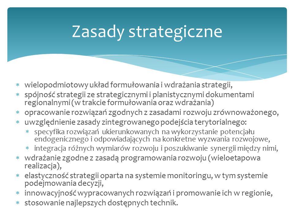  wielopodmiotowy układ formułowania i wdrażania strategii,  spójność strategii ze strategicznymi i planistycznymi dokumentami regionalnymi (w trakcie formułowania oraz wdrażania)  opracowanie rozwiązań zgodnych z zasadami rozwoju zrównoważonego,  uwzględnienie zasady zintegrowanego podejścia terytorialnego:  specyfika rozwiązań ukierunkowanych na wykorzystanie potencjału endogenicznego i odpowiadających na konkretne wyzwania rozwojowe,  integracja różnych wymiarów rozwoju i poszukiwanie synergii między nimi,  wdrażanie zgodne z zasadą programowania rozwoju (wieloetapowa realizacja),  elastyczność strategii oparta na systemie monitoringu, w tym systemie podejmowania decyzji,  innowacyjność wypracowanych rozwiązań i promowanie ich w regionie,  stosowanie najlepszych dostępnych technik.