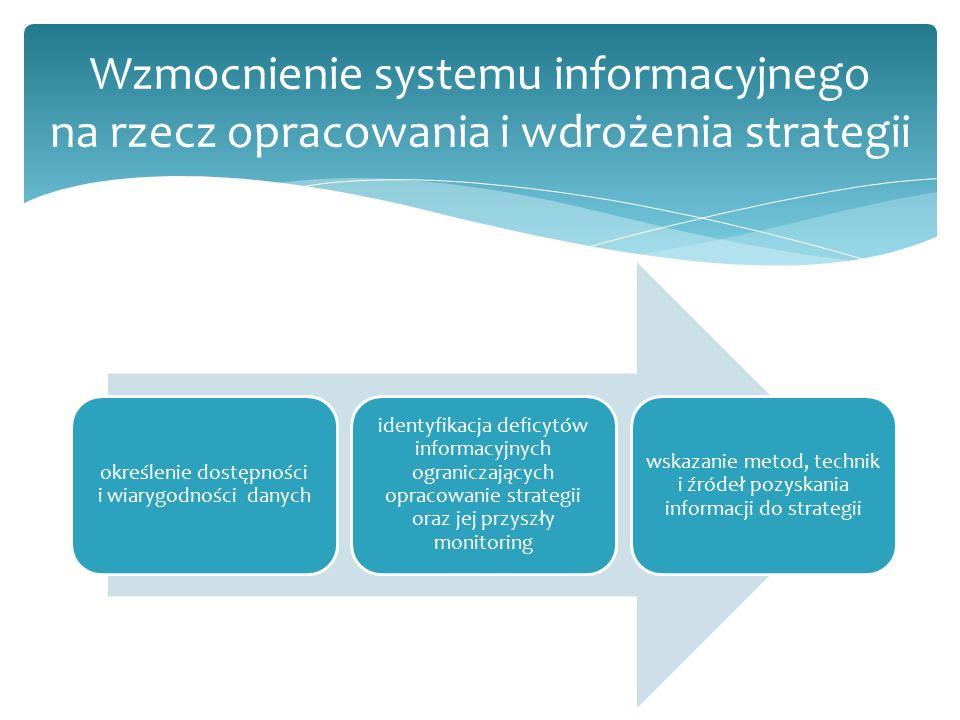 określenie dostępności i wiarygodności danych identyfikacja deficytów informacyjnych ograniczających opracowanie strategii oraz jej przyszły monitoring wskazanie metod, technik i źródeł pozyskania informacji do strategii Wzmocnienie systemu informacyjnego na rzecz opracowania i wdrożenia strategii