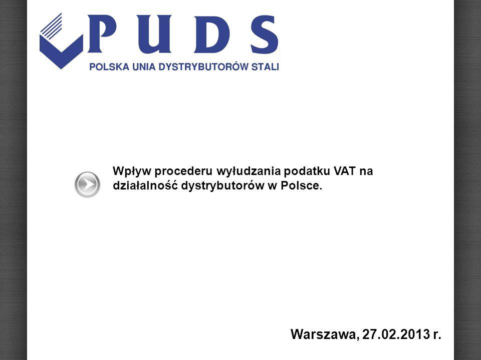 Wpływ procederu wyłudzania podatku VAT na działalność dystrybutorów w Polsce. Warszawa, 27.02.2013 r.