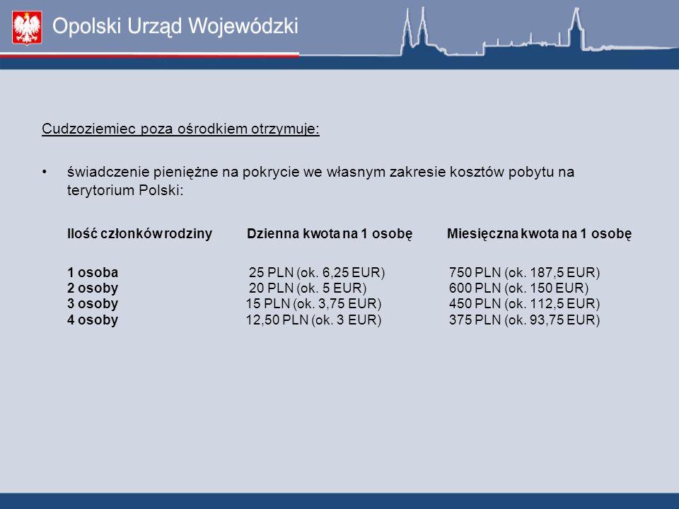 Cudzoziemiec poza ośrodkiem otrzymuje: świadczenie pieniężne na pokrycie we własnym zakresie kosztów pobytu na terytorium Polski: Ilość członków rodzi