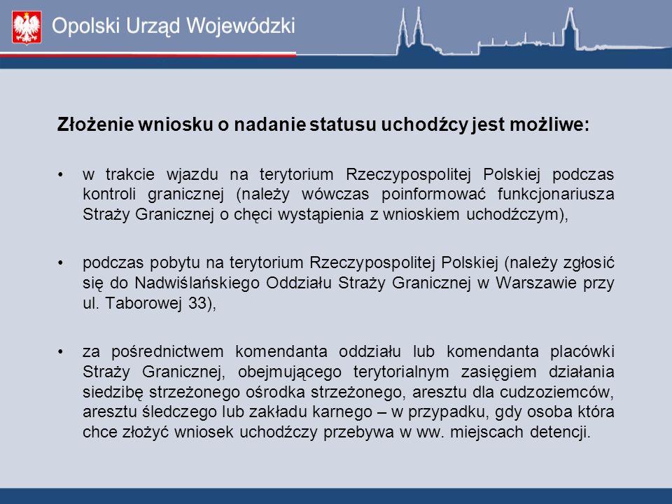 Złożenie wniosku o nadanie statusu uchodźcy jest możliwe: w trakcie wjazdu na terytorium Rzeczypospolitej Polskiej podczas kontroli granicznej (należy