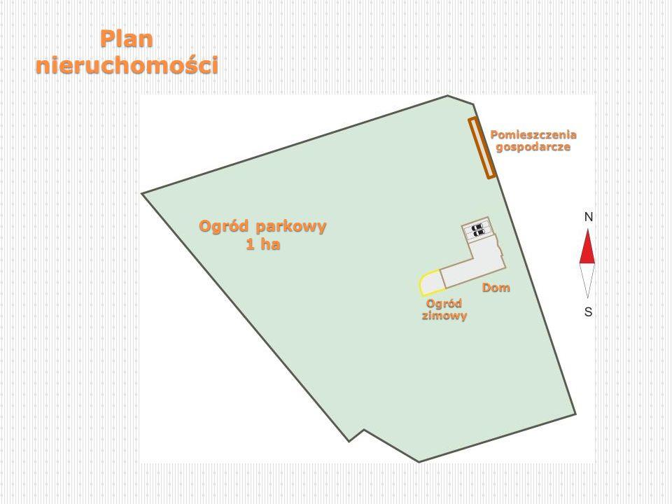 Ogród parkowy 1 ha Ogródzimowy Dom Pomieszczenia gospodarcze Plan nieruchomości