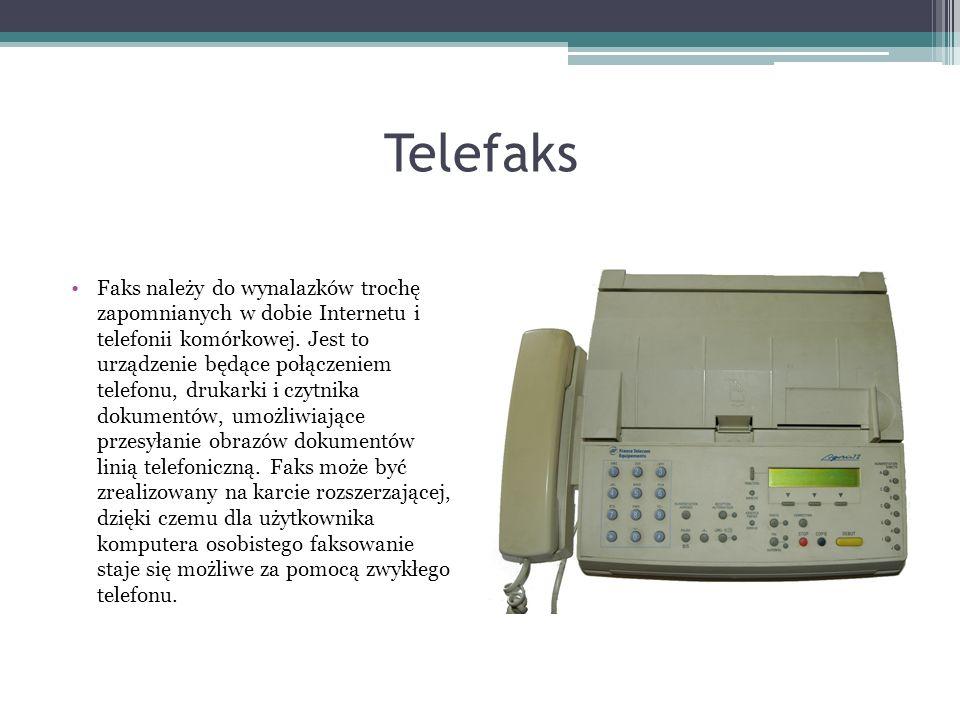 Telefaks Faks należy do wynalazków trochę zapomnianych w dobie Internetu i telefonii komórkowej. Jest to urządzenie będące połączeniem telefonu, druka