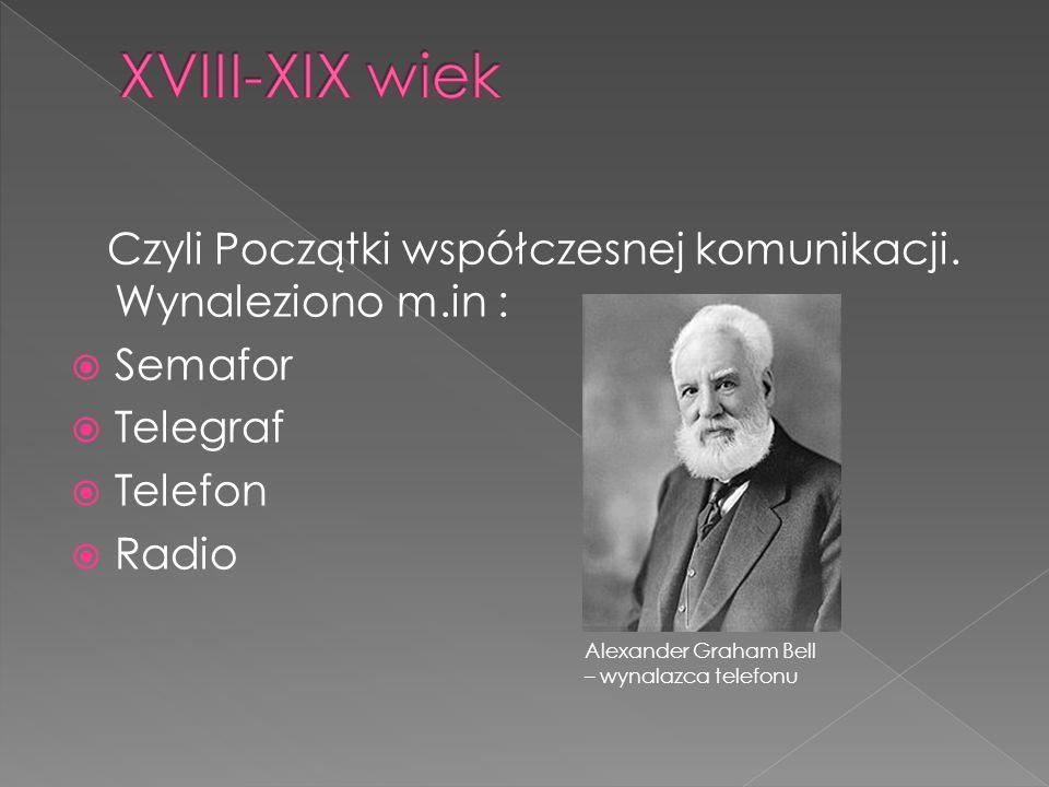 Czyli Początki współczesnej komunikacji. Wynaleziono m.in :  Semafor  Telegraf  Telefon  Radio Alexander Graham Bell – wynalazca telefonu