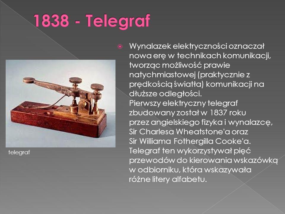  Wynalazek elektryczności oznaczał nowa erę w technikach komunikacji, tworząc możliwość prawie natychmiastowej (praktycznie z prędkością światła) kom