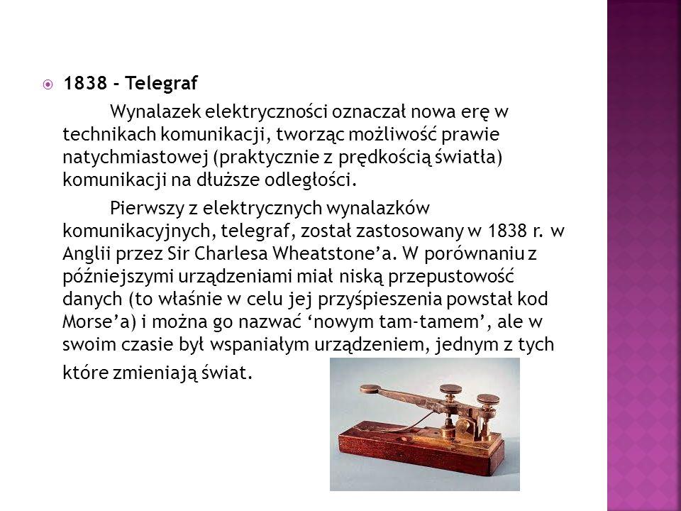  1838 - Telegraf Wynalazek elektryczności oznaczał nowa erę w technikach komunikacji, tworząc możliwość prawie natychmiastowej (praktycznie z prędkoś