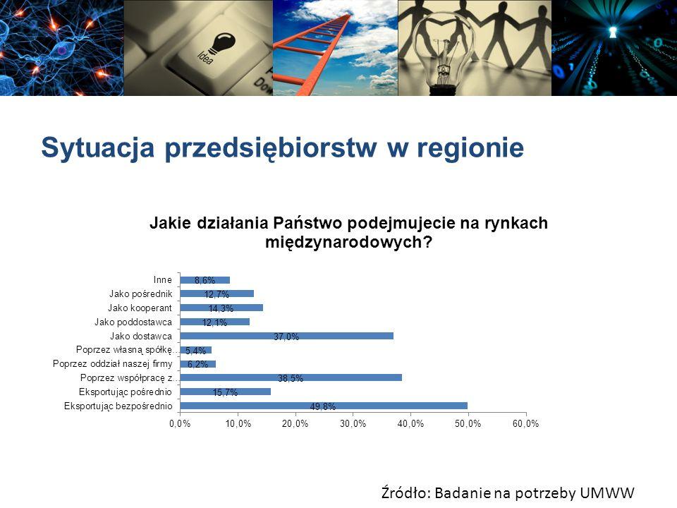 Sytuacja przedsiębiorstw w regionie Źródło: Badanie na potrzeby UMWW