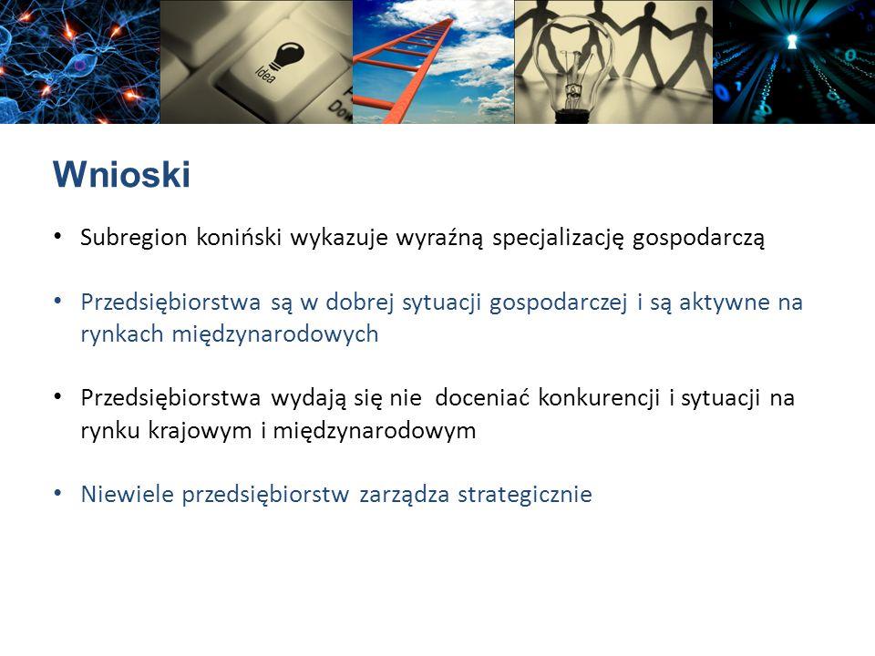 Wnioski Subregion koniński wykazuje wyraźną specjalizację gospodarczą Przedsiębiorstwa są w dobrej sytuacji gospodarczej i są aktywne na rynkach międz