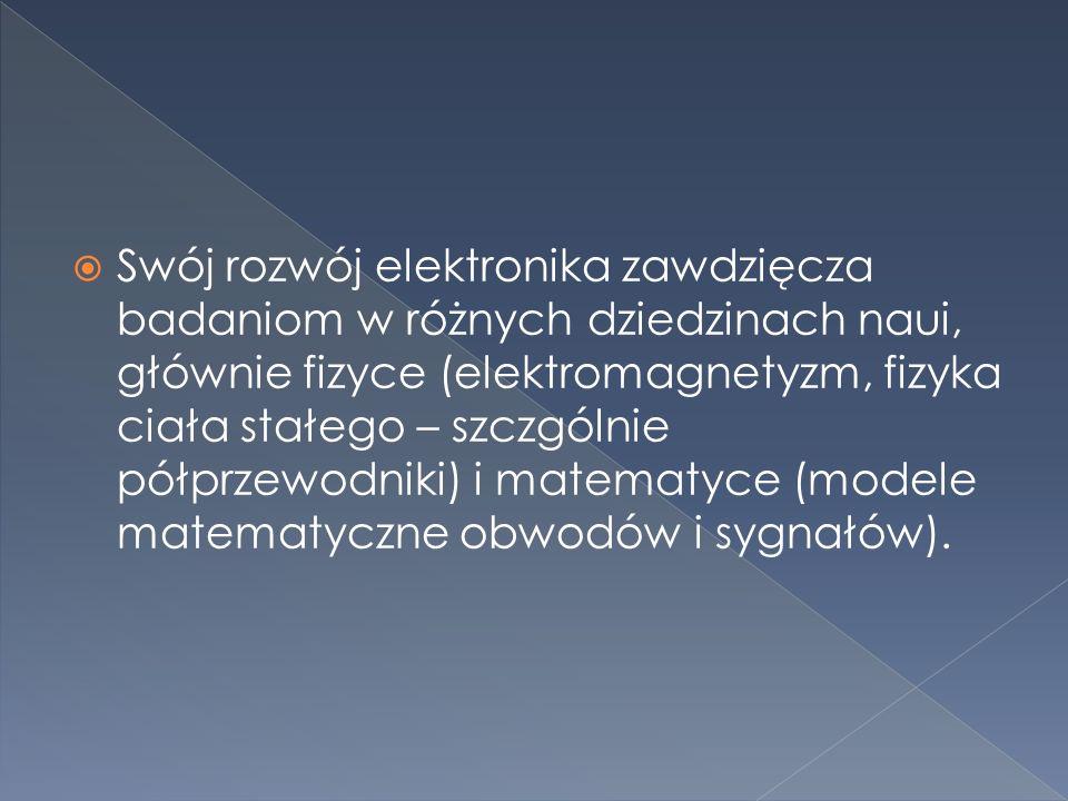  Dziedzina techniki i nauki zajmująca się obwodami elektrycznymi zawierającymi, obok elementów elektronicznych biernych, elementy aktywne takie jak lampy próżniowe, tranzystory i diody.