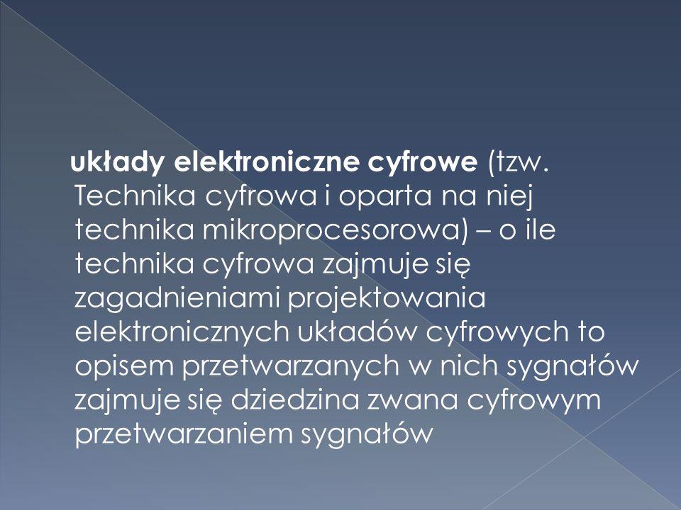  Rozróżnia się: układy elektroniczne analogowe - liniowe - nieliniowe (np.