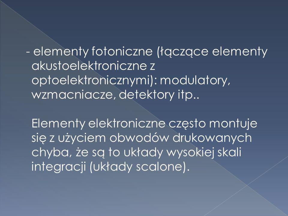 - elementy bierne: rezystory, kondensatory, cewki.