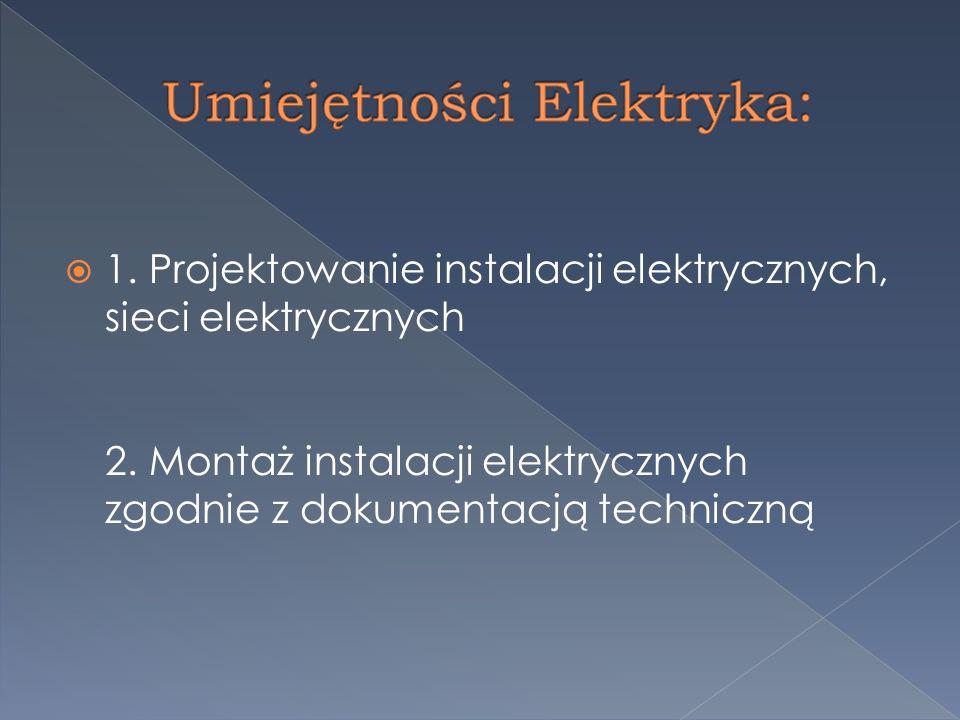  1.Projektowanie instalacji elektrycznych, sieci elektrycznych 2.