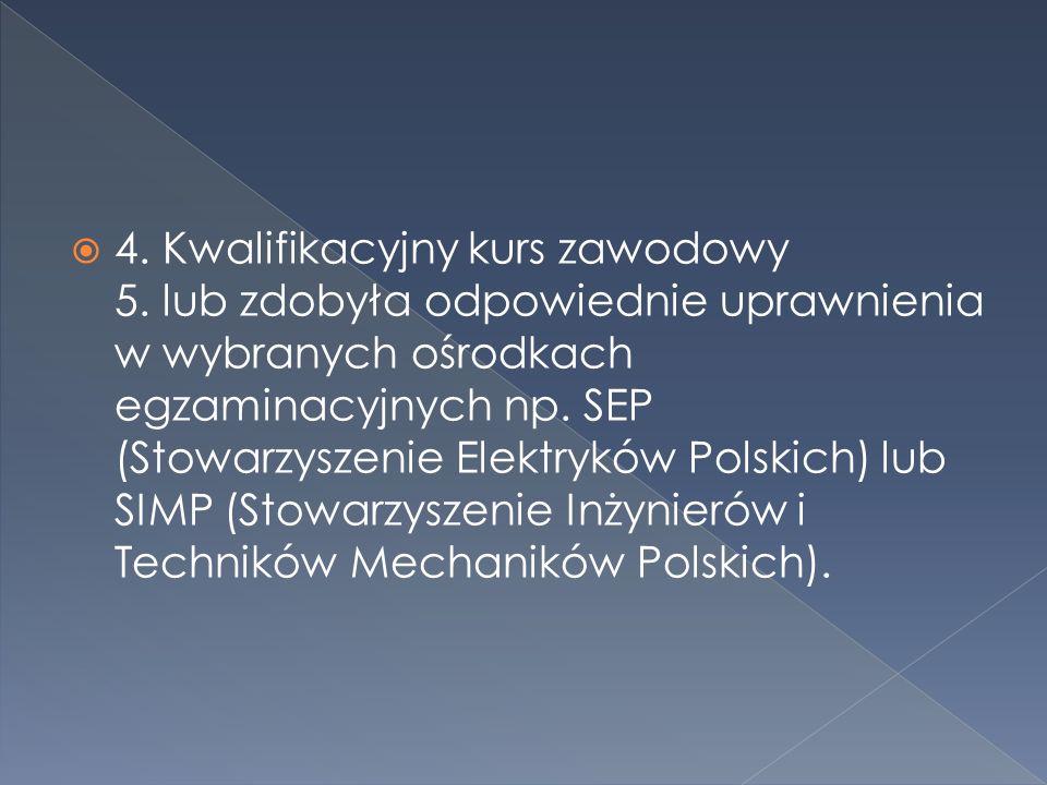 4.Kwalifikacyjny kurs zawodowy 5.