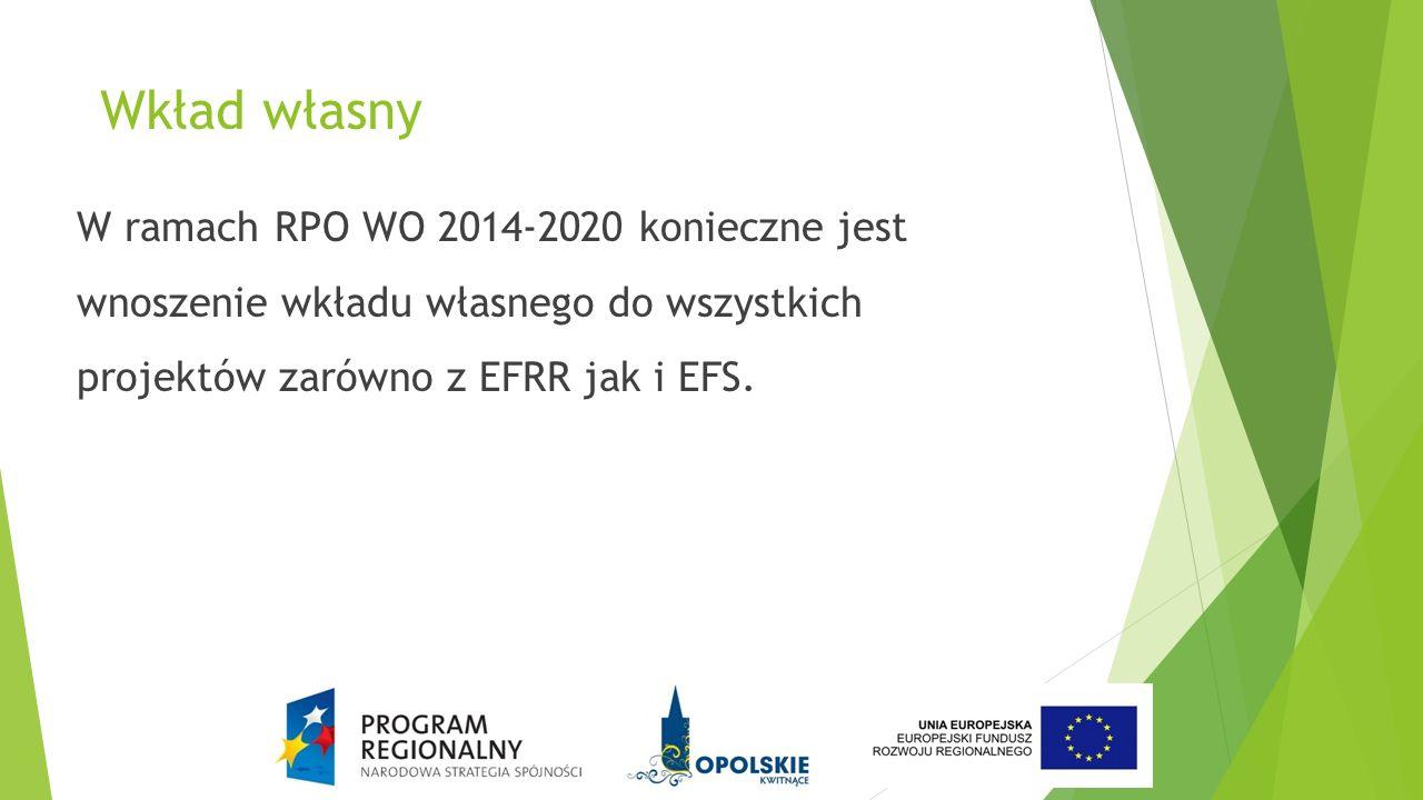 Wkład własny W ramach RPO WO 2014-2020 konieczne jest wnoszenie wkładu własnego do wszystkich projektów zarówno z EFRR jak i EFS.