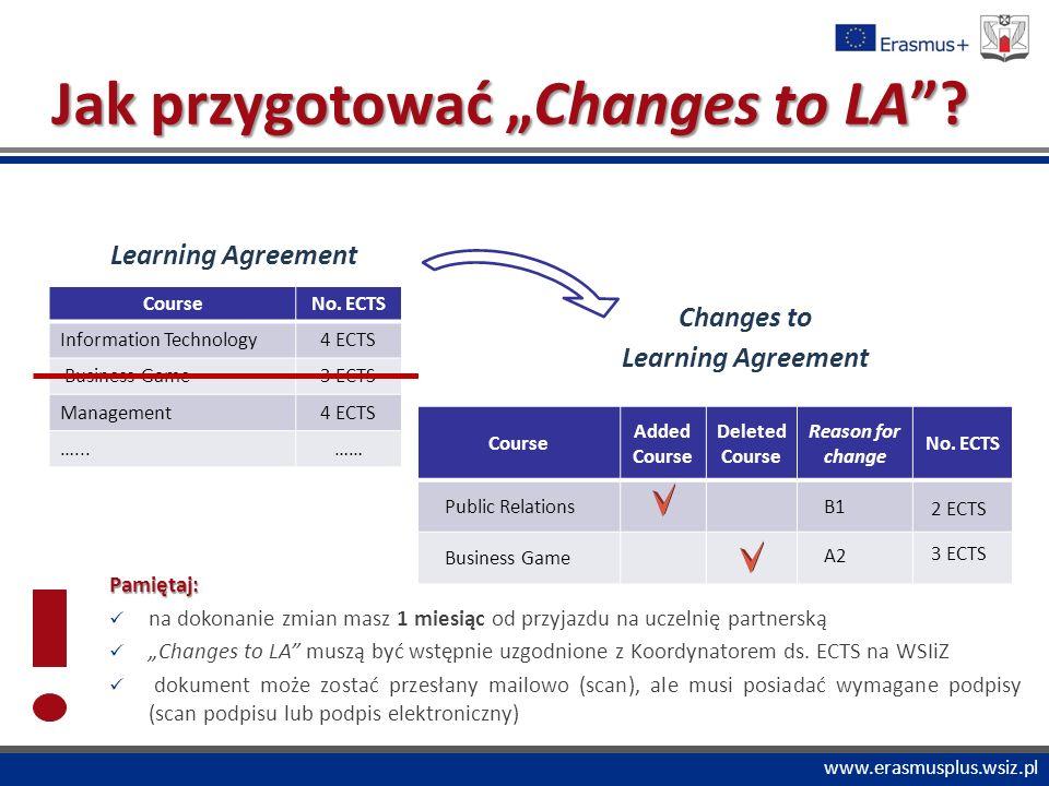 """PROGRAM """"COMENIUS www.erasmusplus.wsiz.pl Jak przygotować """"Changes to LA ."""