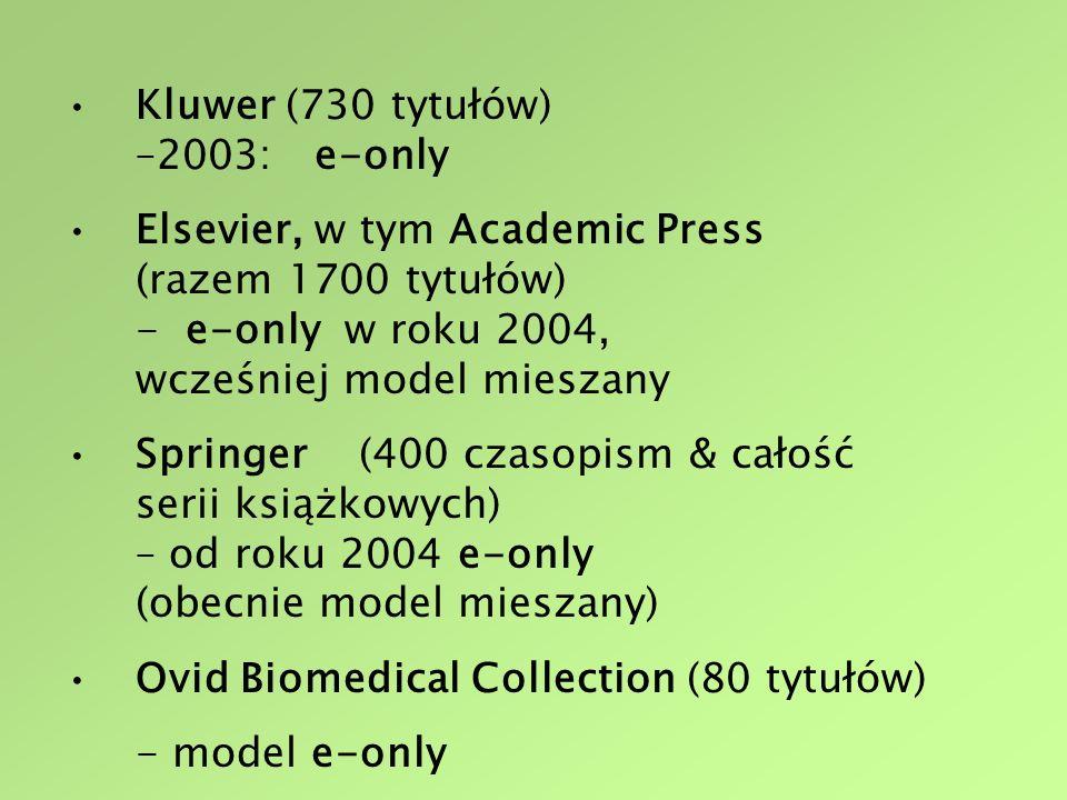 Kluwer (730 tytułów) –2003: e-only Elsevier, w tym Academic Press (razem 1700 tytułów) - e-only w roku 2004, wcześniej model mieszany Springer (400 czasopism & całość serii książkowych) – od roku 2004 e-only (obecnie model mieszany) Ovid Biomedical Collection (80 tytułów) - model e-only