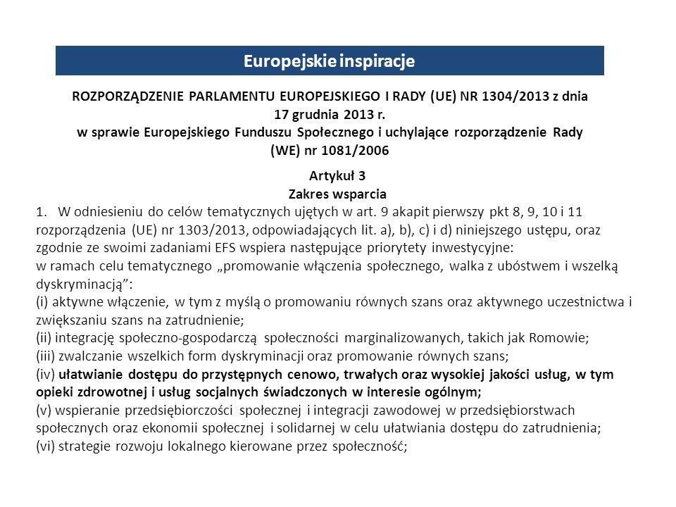 Europejskie inspiracje Artykuł 3 Zakres wsparcia 1.