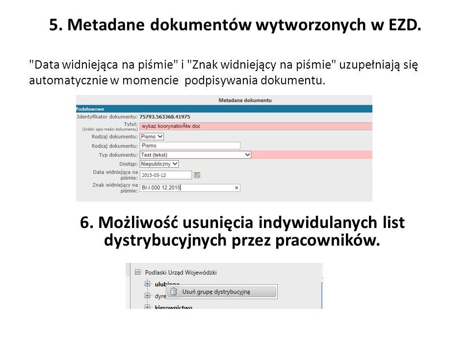 5. Metadane dokumentów wytworzonych w EZD.