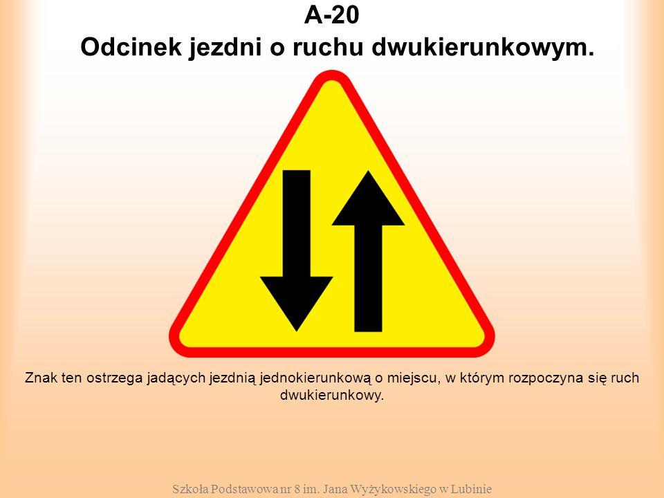 Szkoła Podstawowa nr 8 im. Jana Wyżykowskiego w Lubinie A-20 Znak ten ostrzega jadących jezdnią jednokierunkową o miejscu, w którym rozpoczyna się ruc