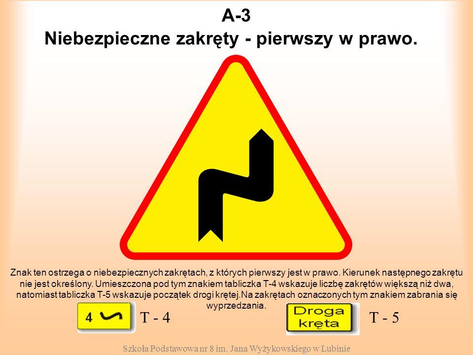 Szkoła Podstawowa nr 8 im. Jana Wyżykowskiego w Lubinie A-3 Znak ten ostrzega o niebezpiecznych zakrętach, z których pierwszy jest w prawo. Kierunek n
