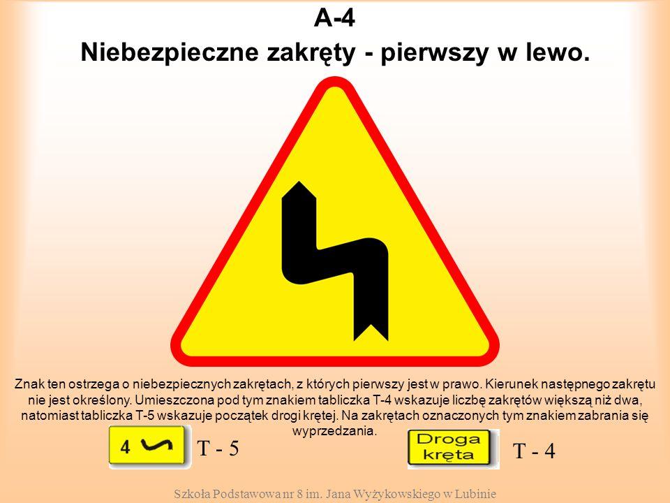 Szkoła Podstawowa nr 8 im. Jana Wyżykowskiego w Lubinie A-4 Znak ten ostrzega o niebezpiecznych zakrętach, z których pierwszy jest w prawo. Kierunek n