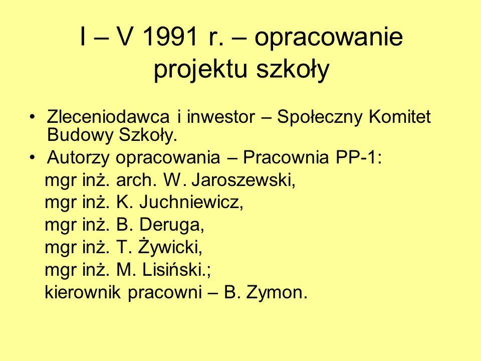 1990 r.- zawiązanie się Społecznego Komitetu Budowy Szkoły Przewodniczący – A.