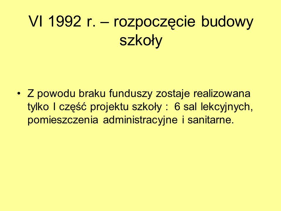 I – V 1991 r. – opracowanie projektu szkoły Zleceniodawca i inwestor – Społeczny Komitet Budowy Szkoły. Autorzy opracowania – Pracownia PP-1: mgr inż.