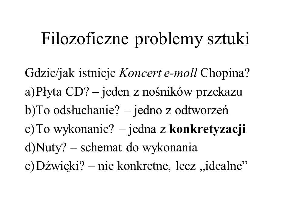 Filozoficzne problemy sztuki Gdzie/jak istnieje Koncert e-moll Chopina.