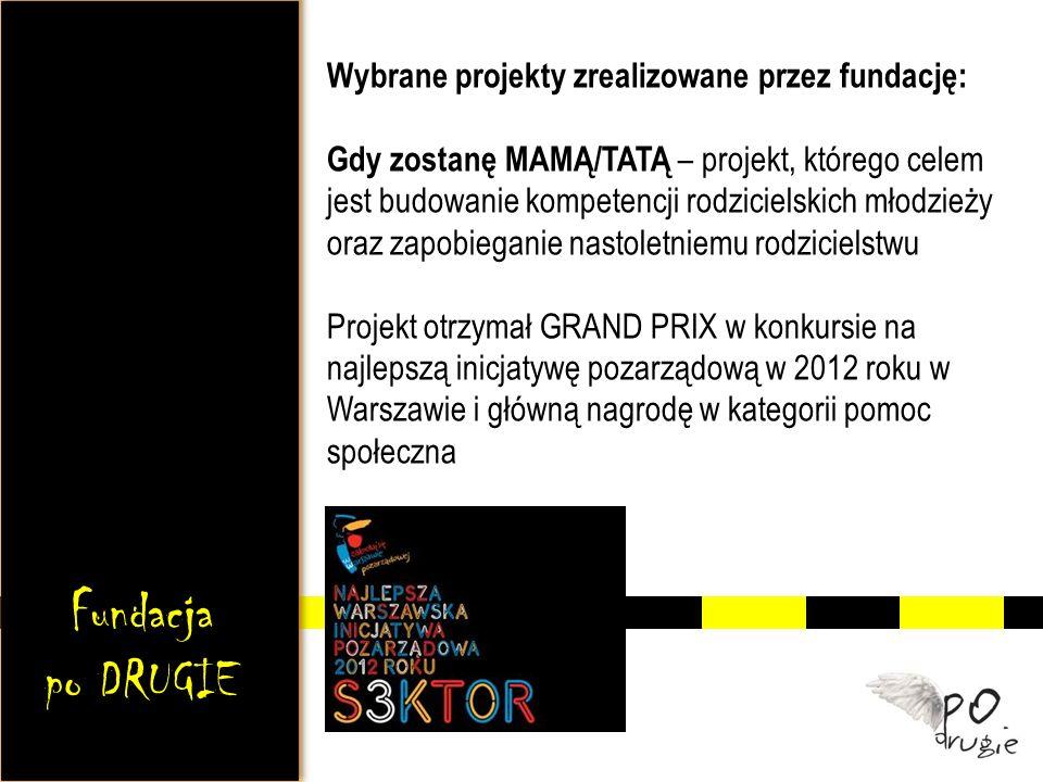 Wybrane projekty zrealizowane przez fundację: Gdy zostanę MAMĄ/TATĄ – projekt, którego celem jest budowanie kompetencji rodzicielskich młodzieży oraz zapobieganie nastoletniemu rodzicielstwu Projekt otrzymał GRAND PRIX w konkursie na najlepszą inicjatywę pozarządową w 2012 roku w Warszawie i główną nagrodę w kategorii pomoc społeczna Fundacja po DRUGIE