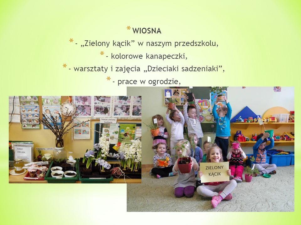 """* WIOSNA * - """"Zielony kącik w naszym przedszkolu, * - kolorowe kanapeczki, * - warsztaty i zajęcia """"Dzieciaki sadzeniaki , * - prace w ogrodzie,"""