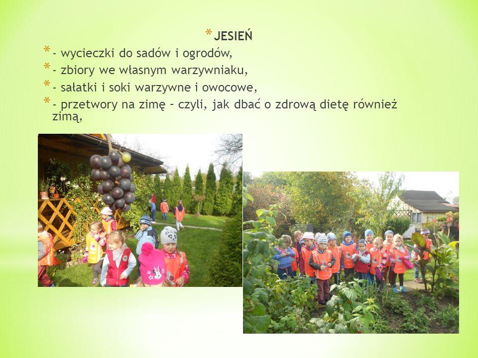* JESIEŃ * - wycieczki do sadów i ogrodów, * - zbiory we własnym warzywniaku, * - sałatki i soki warzywne i owocowe, * - przetwory na zimę – czyli, jak dbać o zdrową dietę również zimą,