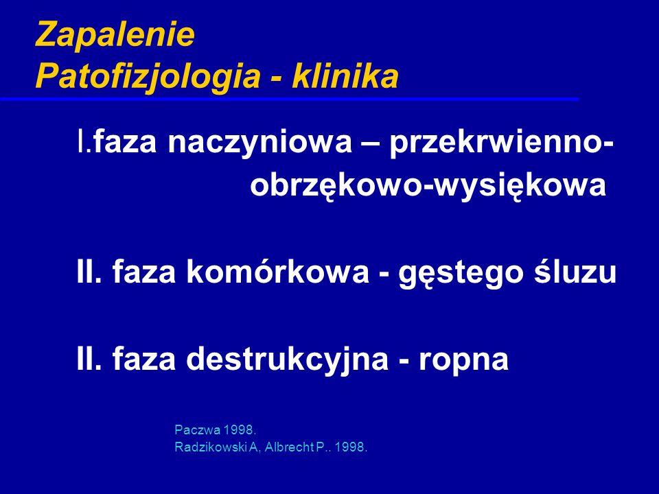 Zapalenie Patofizjologia - klinika I.faza naczyniowa – przekrwienno- obrzękowo-wysiękowa II. faza komórkowa - gęstego śluzu II. faza destrukcyjna - ro
