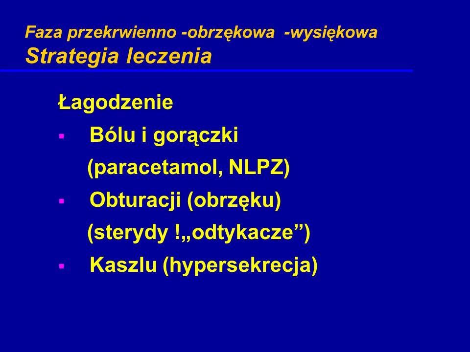"""Faza przekrwienno -obrzękowa -wysiękowa Strategia leczenia Łagodzenie  Bólu i gorączki (paracetamol, NLPZ)  Obturacji (obrzęku) (sterydy !""""odtykacze"""