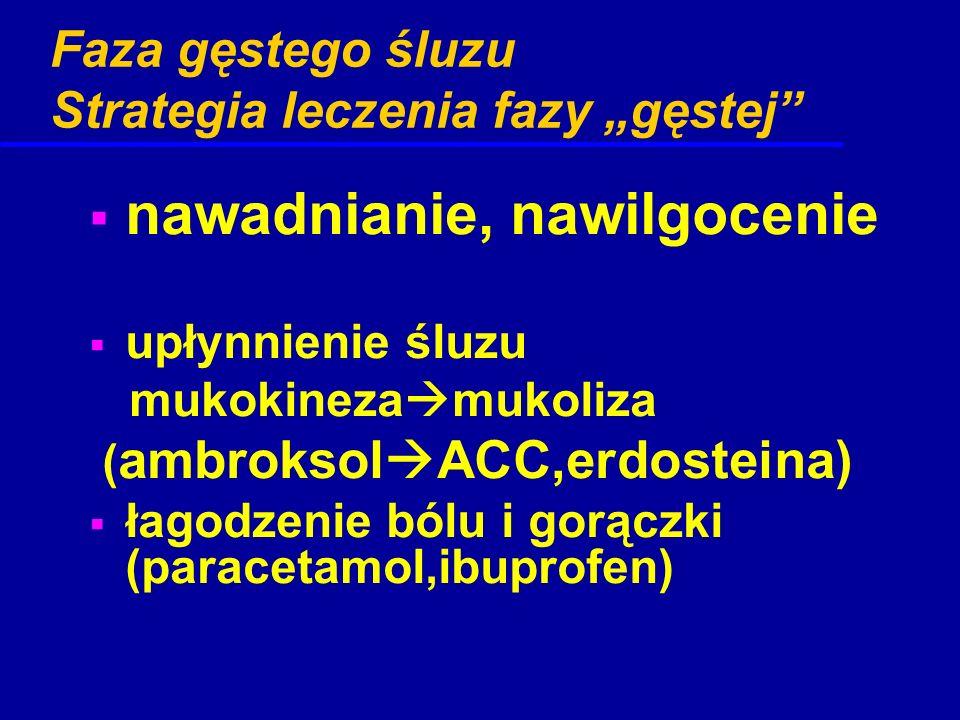 """Faza gęstego śluzu Strategia leczenia fazy """"gęstej""""  nawadnianie, nawilgocenie  upłynnienie śluzu mukokineza  mukoliza ( ambroksol  ACC,erdosteina"""