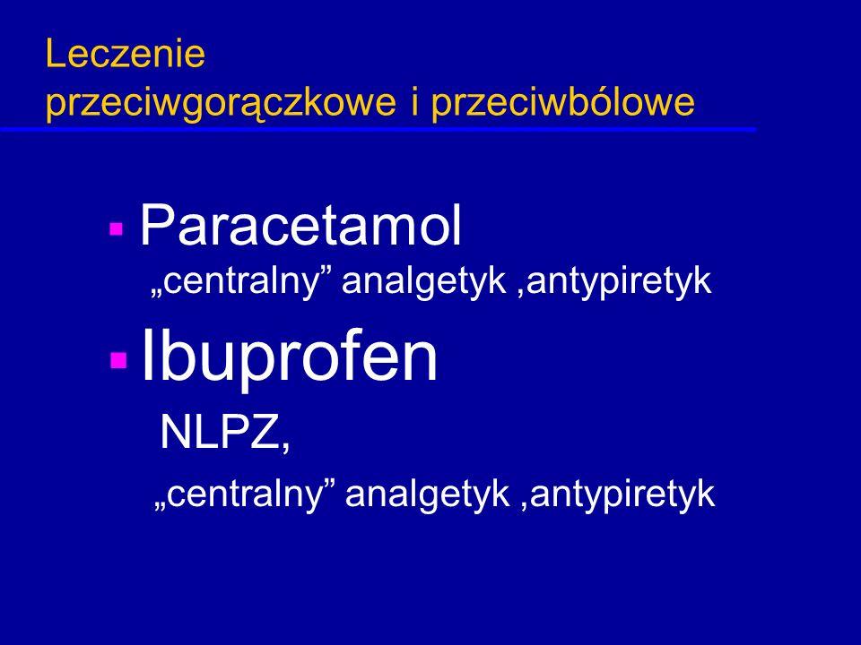 """Leczenie przeciwgorączkowe i przeciwbólowe  Paracetamol """"centralny"""" analgetyk,antypiretyk  Ibuprofen NLPZ, """"centralny"""" analgetyk,antypiretyk"""