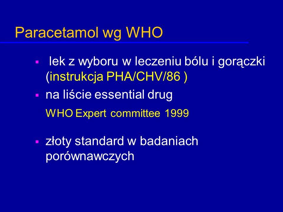 Paracetamol wg WHO  lek z wyboru w leczeniu bólu i gorączki (instrukcja PHA/CHV/86 )  na liście essential drug WHO Expert committee 1999  złoty sta