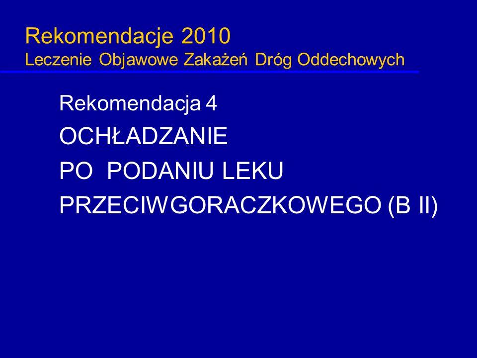 Rekomendacje 2010 Leczenie Objawowe Zakażeń Dróg Oddechowych Rekomendacja 4 OCHŁADZANIE PO PODANIU LEKU PRZECIWGORACZKOWEGO (B II)