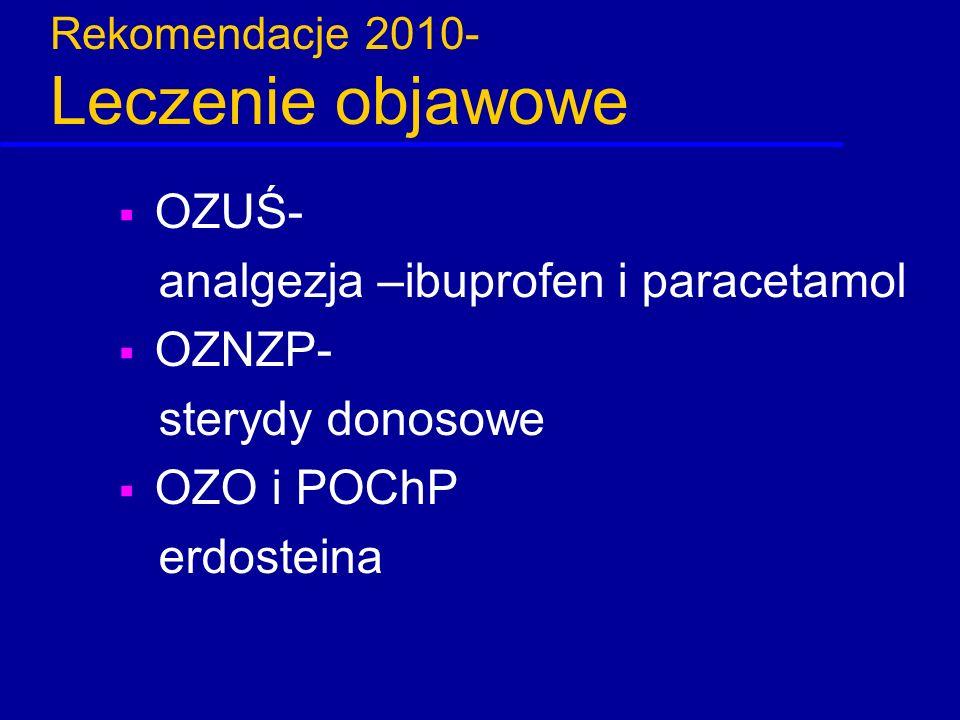 Rekomendacje 2010- Leczenie objawowe  OZUŚ- analgezja –ibuprofen i paracetamol  OZNZP- sterydy donosowe  OZO i POChP erdosteina